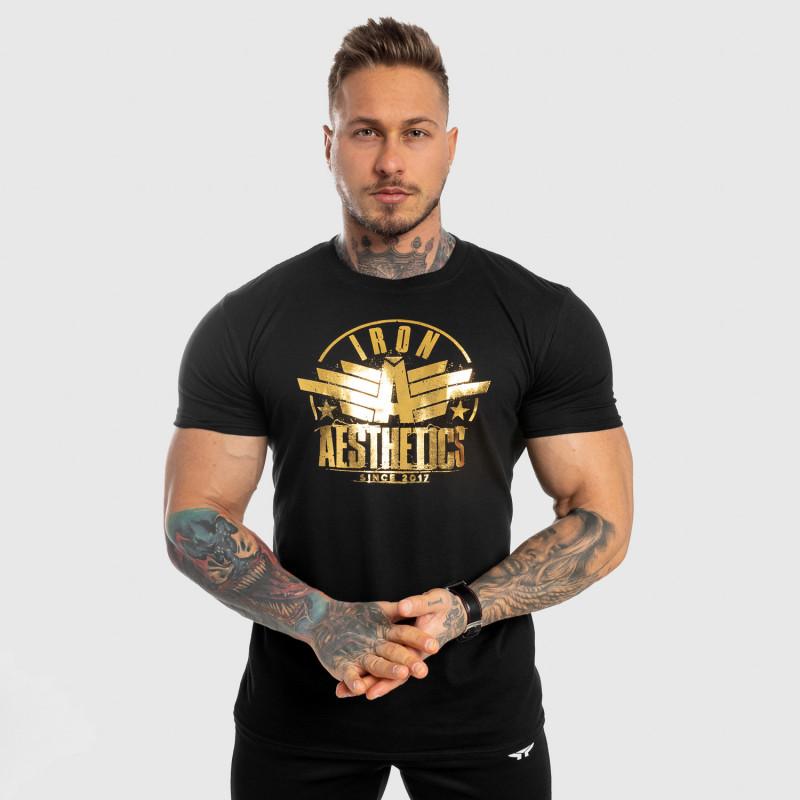 Pánske fitness tričko Iron Aesthetics Force, black&gold-3