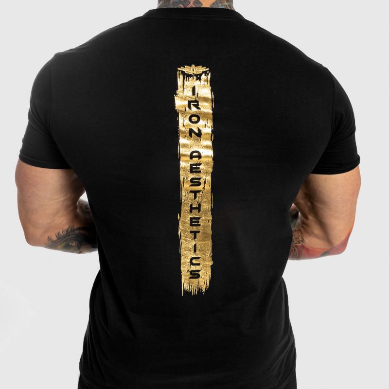 Pánske fitness tričko Iron Aesthetics Force, black&gold-4