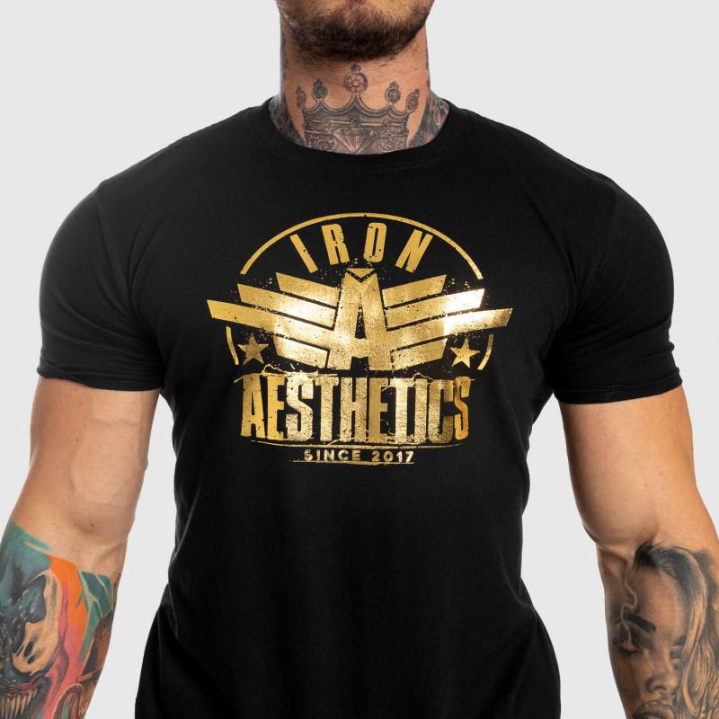 Pánske fitness tričko Iron Aesthetics Force, black&gold-5