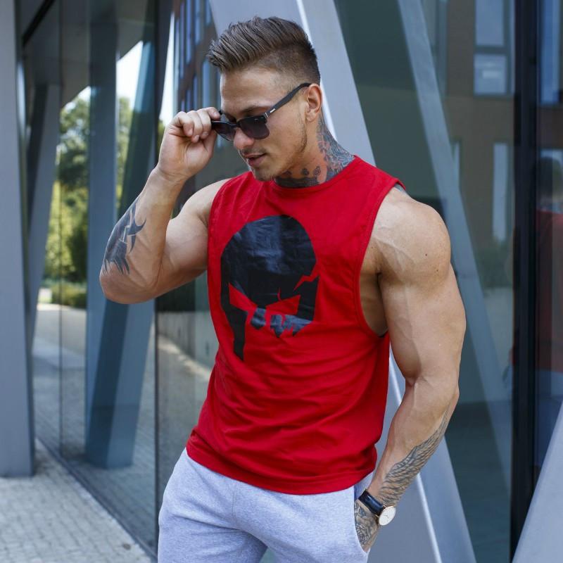 Pánske fitness tielko Iron Aesthetics Skull, červené-1