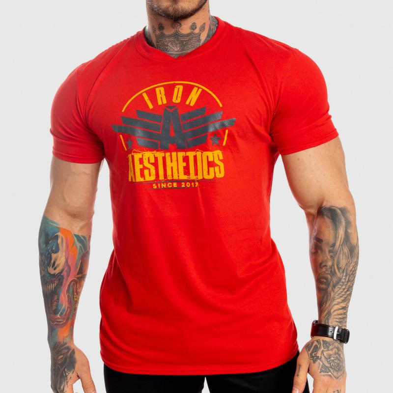 Pánske fitness tričko Iron Aesthetics Force, červené-1