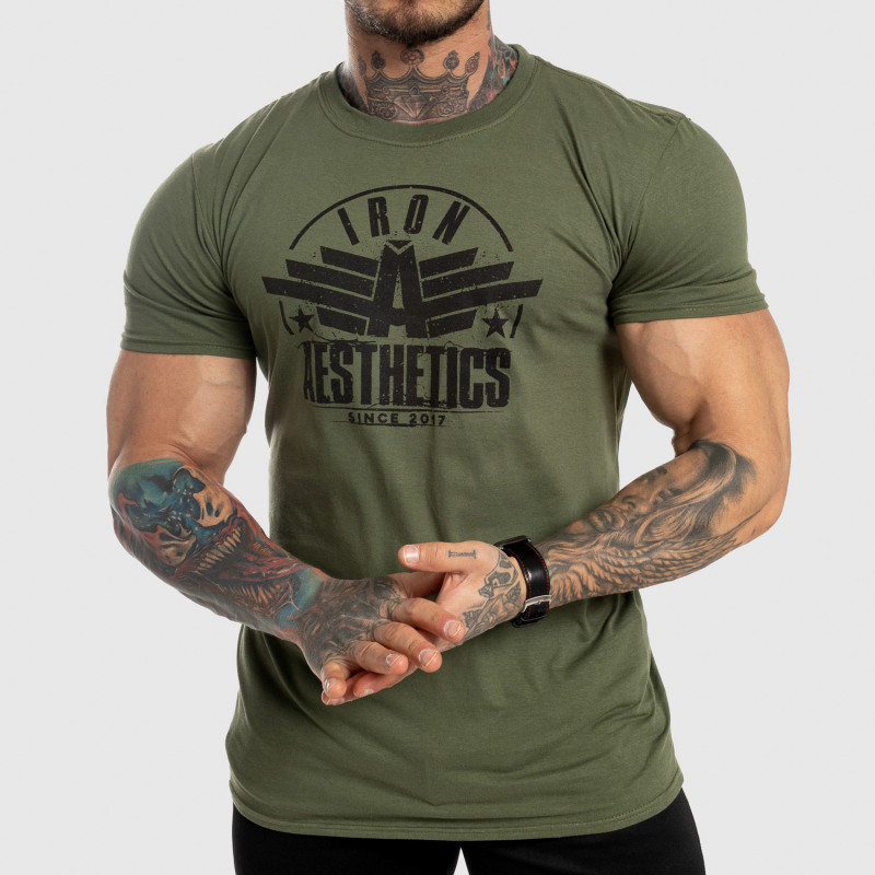 Pánske fitness tričko Iron Aesthetics Force, zelené-1