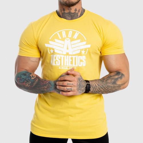 Pánske fitness tričko Iron Aesthetics Force, žlté