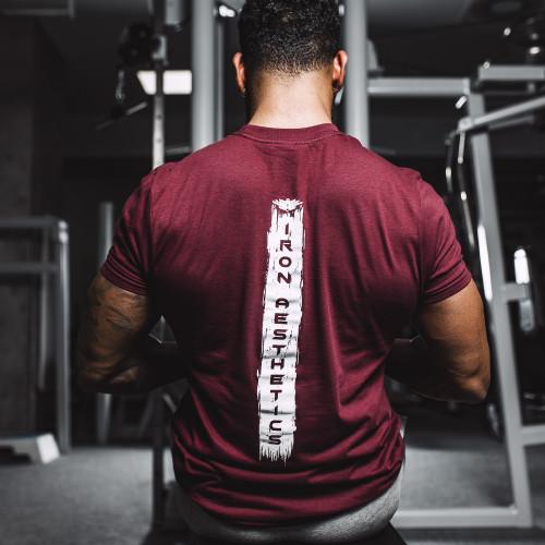 Pánske fitness tričko Iron Aesthetics Force, bordové