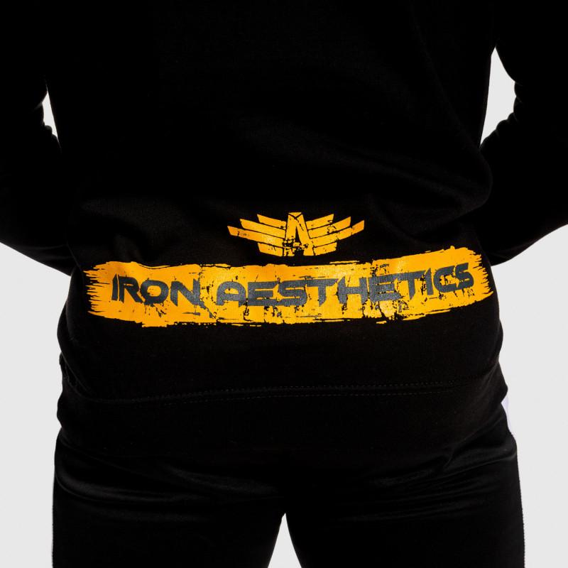 Fitness mikina bez zipsu Iron Aesthetics Force, čierna-6