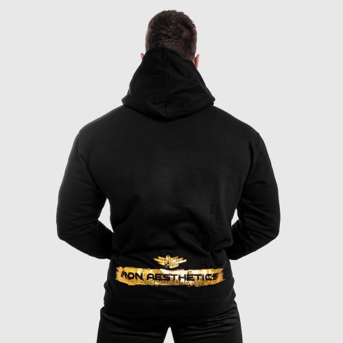 Fitness mikina bez zipsu Iron Aesthetics Force, black&gold