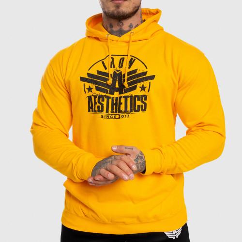 Fitness mikina bez zipsu Iron Aesthetics Force, žltá