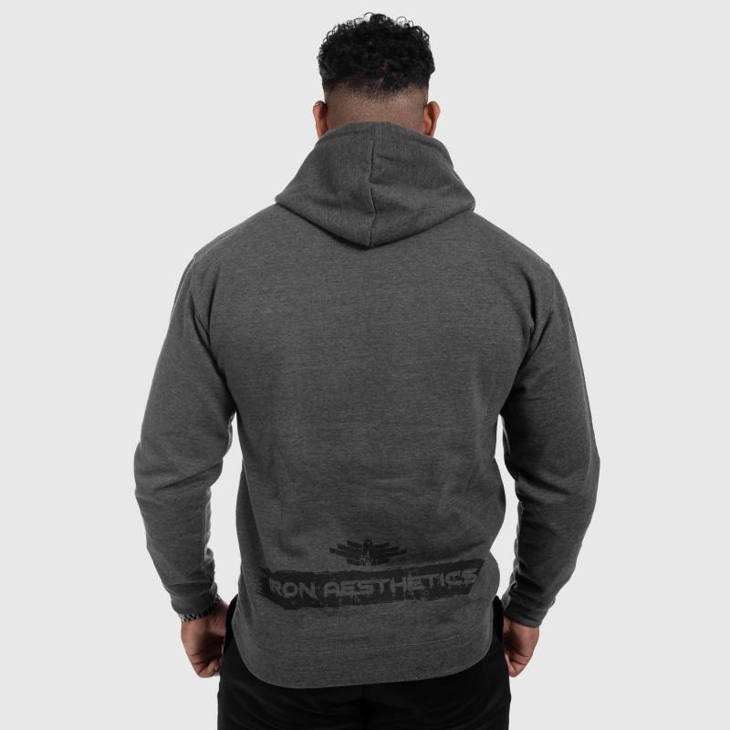 Fitness mikina bez zipsu Iron Aesthetics Force, Charcoal Grey-2