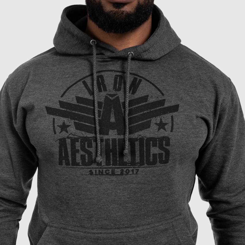 Fitness mikina bez zipsu Iron Aesthetics Force, Charcoal Grey-4