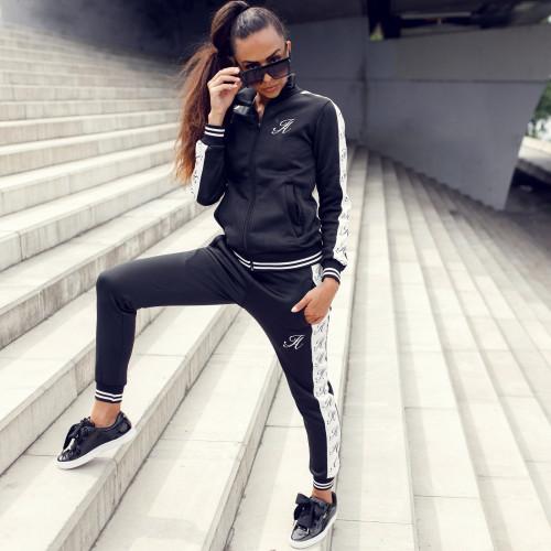 Dámska športová súprava Iron Aesthetics Stripes, čierna