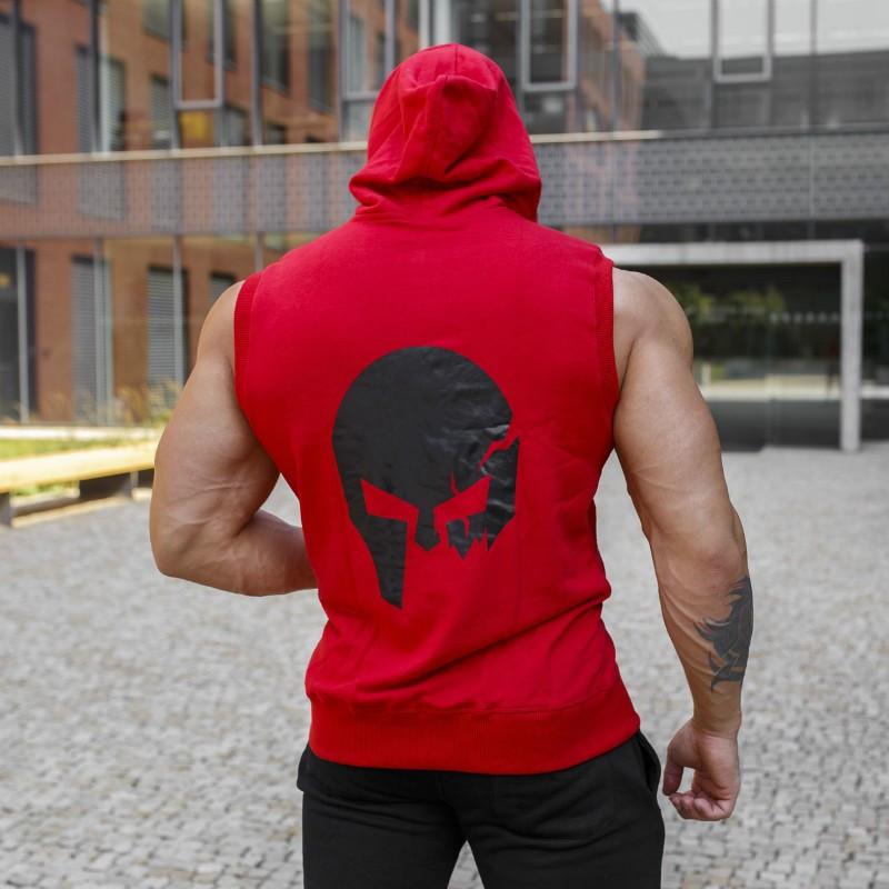 Pánska mikina Iron Aesthetics Sleeveless Skull, červená-4