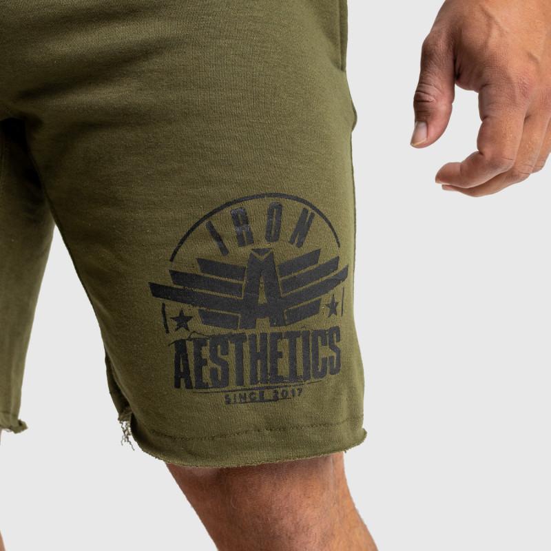Pánske teplákové kraťasy Iron Aesthetics Force, vojenská zelená-6