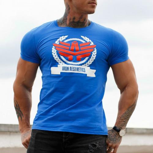 Pánske fitness tričko Iron Aesthetics Triumph, modré