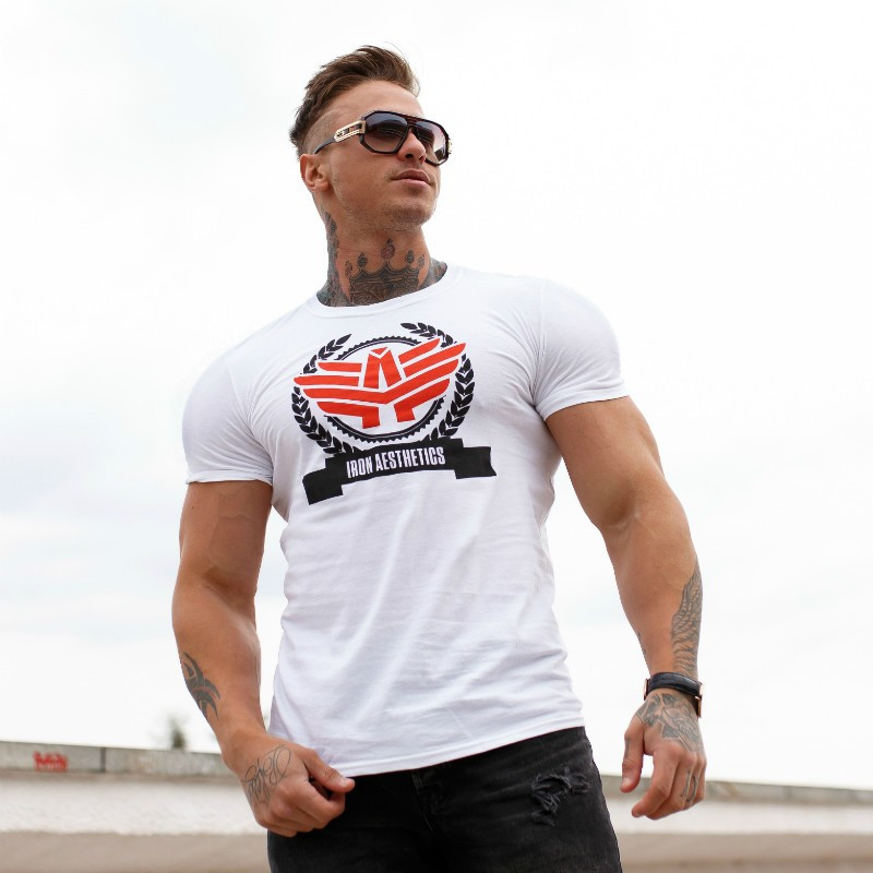 Pánske fitness tričko Iron Aesthetics Triumph, biele-2
