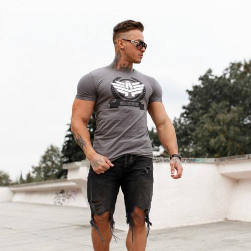 Pánske fitness tričko Iron Aesthetics Triumph, Sivé