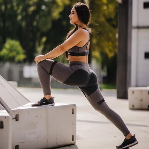 Dámska fitness súprava Iron Aesthetics Heart, sivá