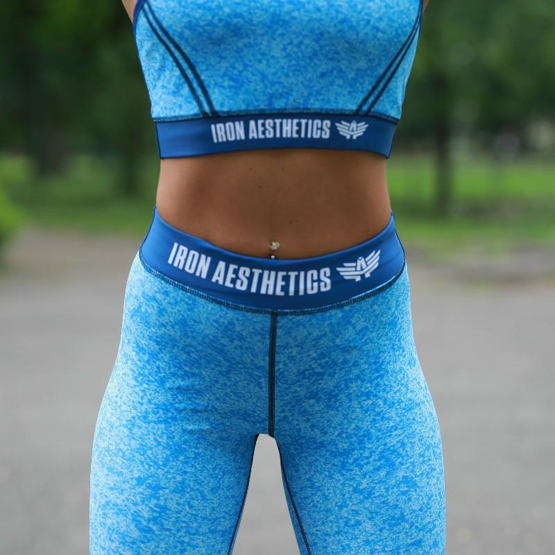 Dámska fitness súprava Iron Aesthetics Stripes, modrá-3