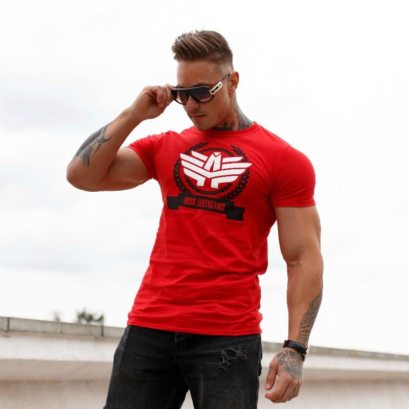 Pánske fitness tričko Iron Aesthetics Triumph, červené-3