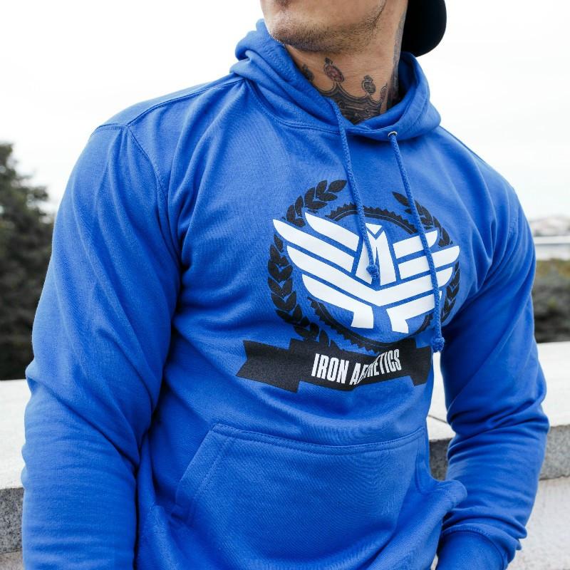 Fitness mikina bez zipsu Iron Aesthetics Triumph, modrá-1