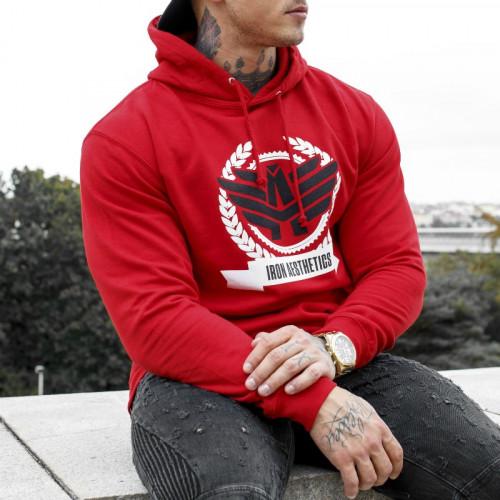 Fitness mikina bez zipsu Iron Aesthetics Triumph, červená