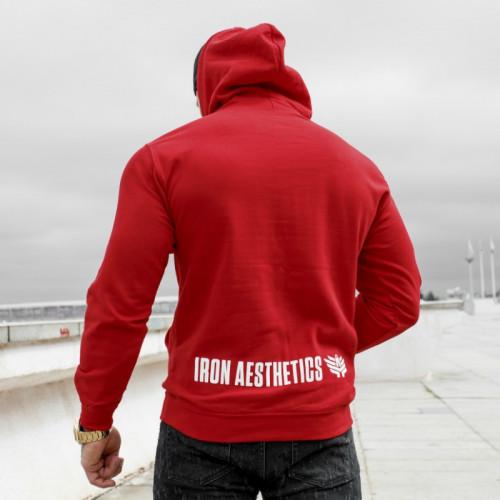 Fitness mikina bez zipsu Iron Aesthetics SKULL, červená