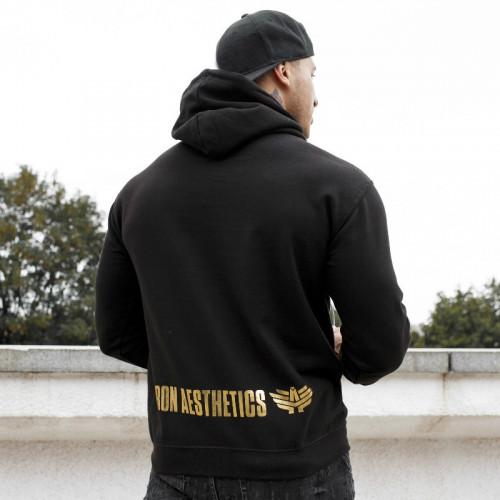 Fitness mikina bez zipsu Iron Aesthetics SKULL, black&gold