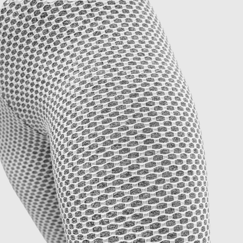 Dámske vrúbkované legíny Iron Aesthetics, biele-7