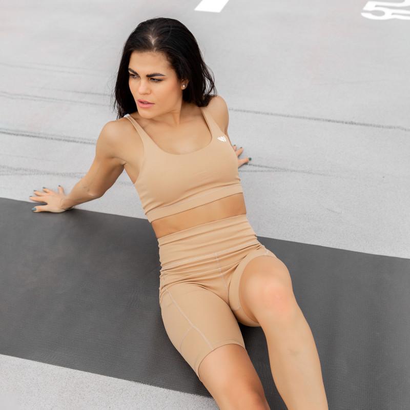 Dámska športová podprsenka Stripes - Iron Aesthetics, béžová-4