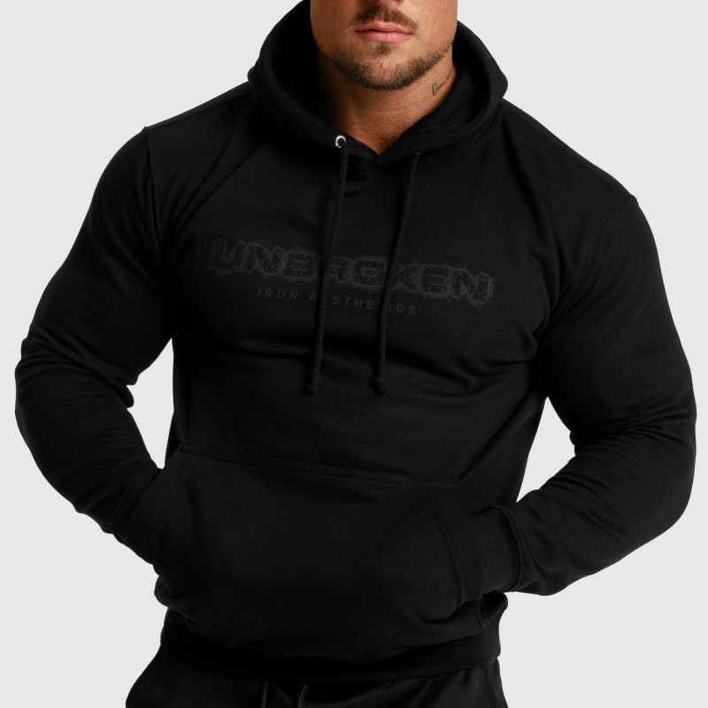 Fitness mikina bez zipsu Iron Aesthetics Unbroken, čierna-1