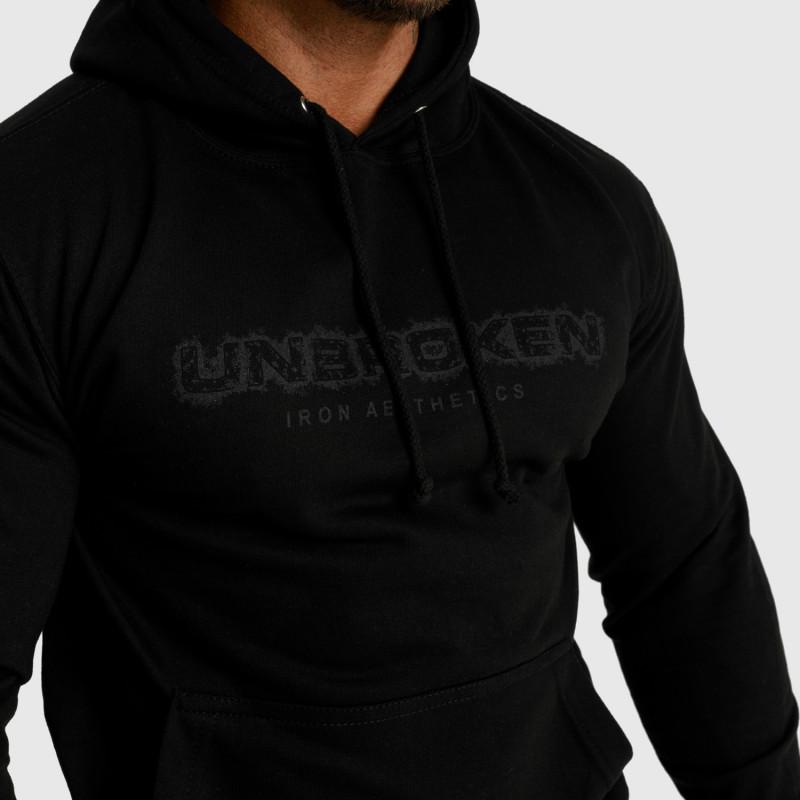 Fitness mikina bez zipsu Iron Aesthetics Unbroken, čierna-5