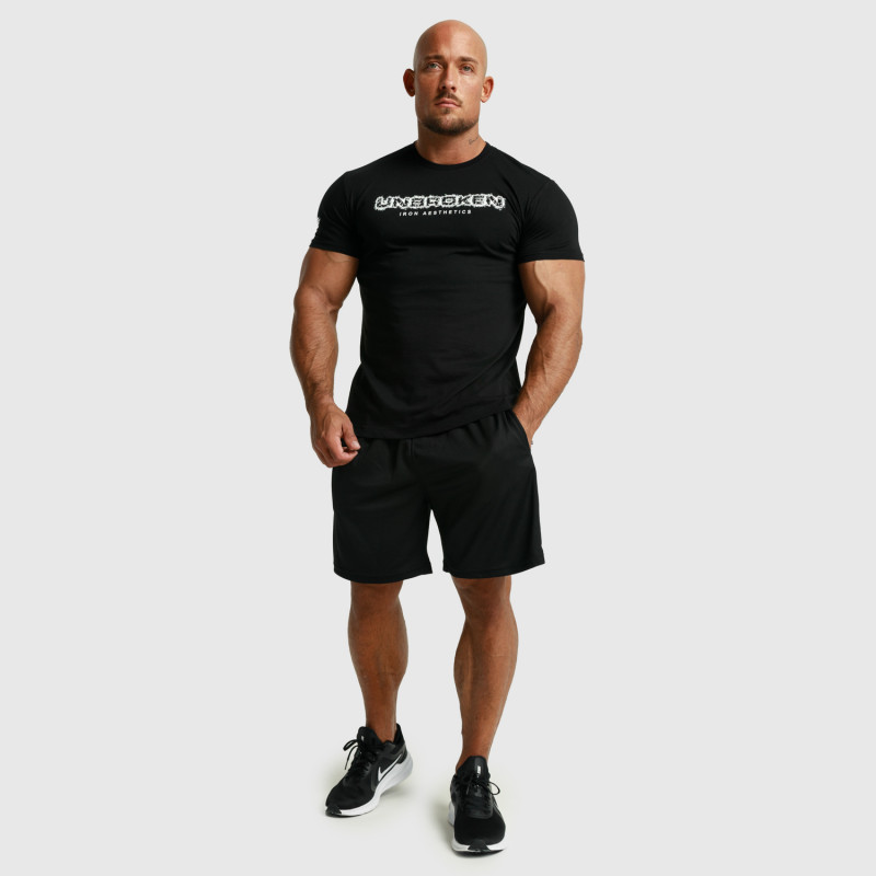 Pánske fitness tričko Iron Aesthetics Unbroken, čierne-8