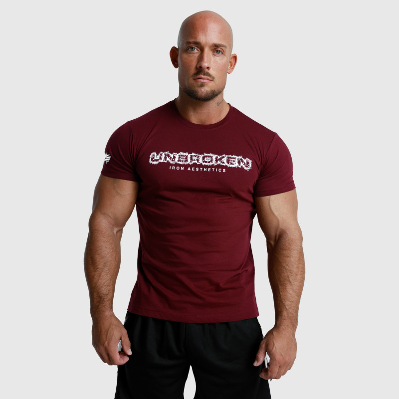 Pánske fitness tričko Iron Aesthetics Unbroken, bordové-3