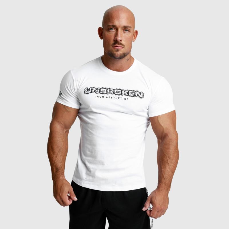 Pánske fitness tričko Iron Aesthetics Unbroken, biele-4