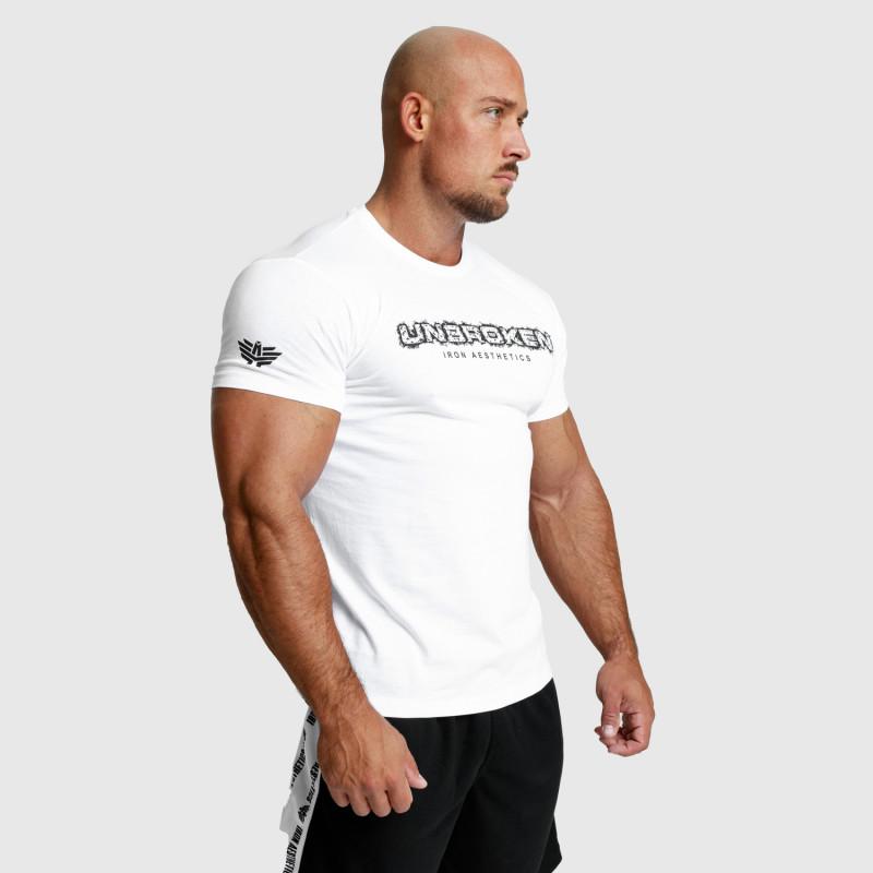 Pánske fitness tričko Iron Aesthetics Unbroken, biele-7