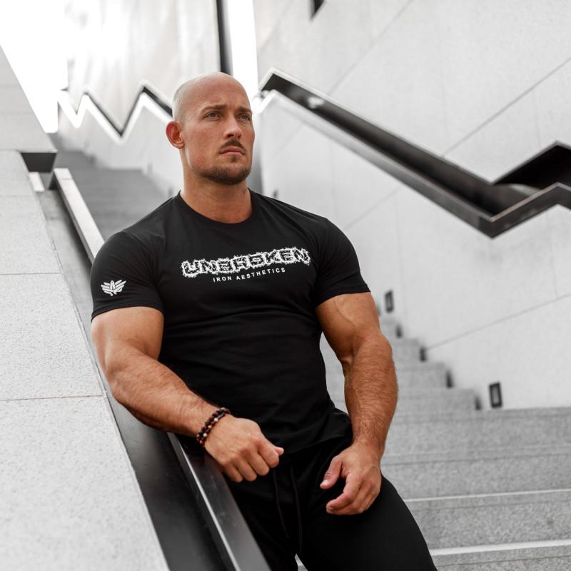 Pánske fitness tričko Iron Aesthetics Unbroken, čierne-3