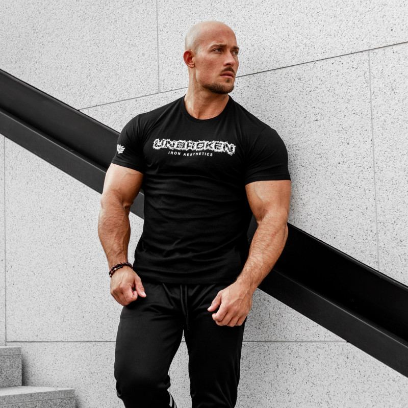 Pánske fitness tričko Iron Aesthetics Unbroken, čierne-2