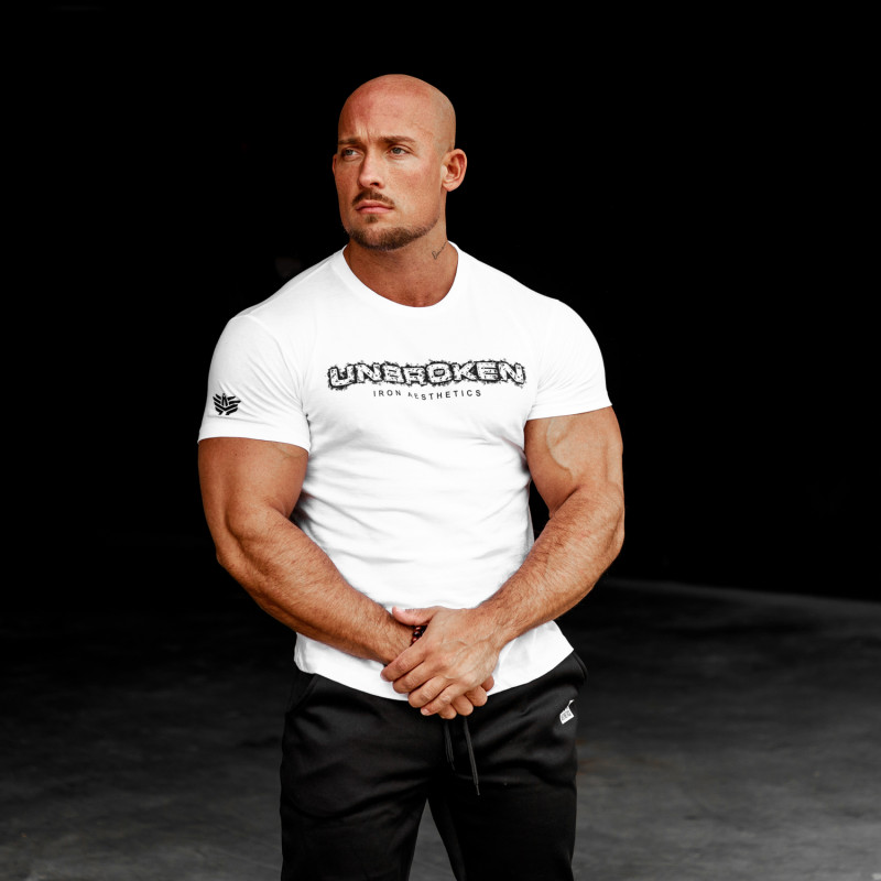 Pánske fitness tričko Iron Aesthetics Unbroken, biele-2