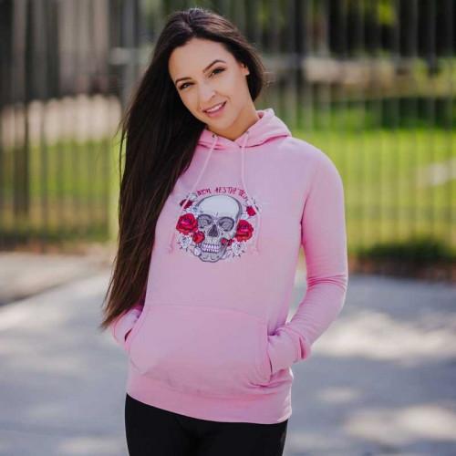 Dámska Fitness mikina Skull&Roses, ružová