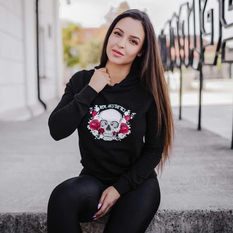 Dámska Fitness mikina Skull&Roses, čierna-6