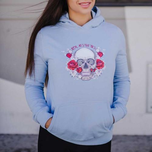 Dámska Fitness mikina Skull&Roses, modrá