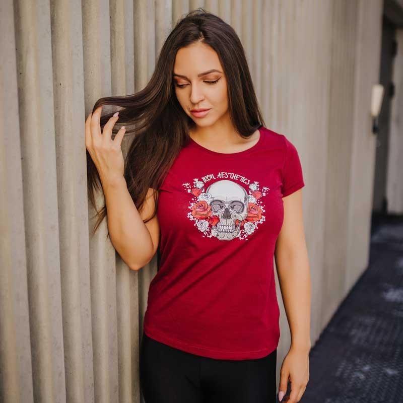 Dámske fitness tričko Iron Aesthetics Skull&Roses, bordové-4