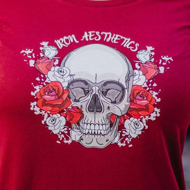 Dámske fitness tričko Iron Aesthetics Skull&Roses, bordové-5