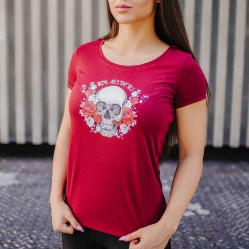 Dámske fitness tričko Iron Aesthetics Skull&Roses, bordové