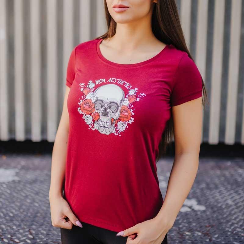 Dámske fitness tričko Iron Aesthetics Skull&Roses, bordové-1