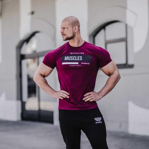 Pánske fitness tričko Iron Aesthetics Installing Muscles, bordové