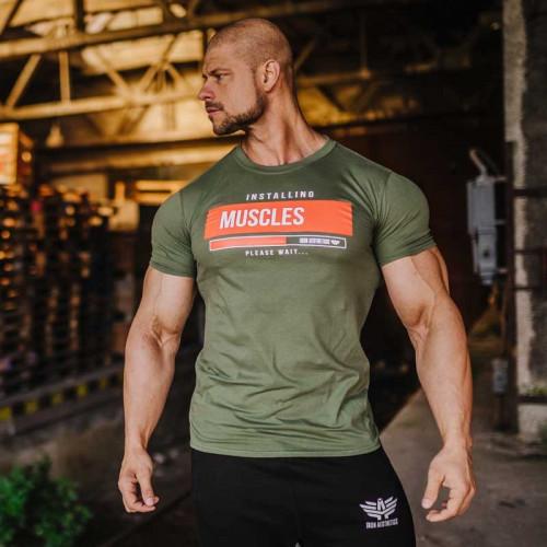 Pánske fitness tričko Iron Aesthetics Installing Muscles, zelené