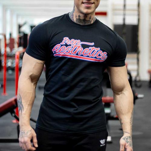 Pánske fitness tričko Iron Aesthetics BASEBALL, čierne