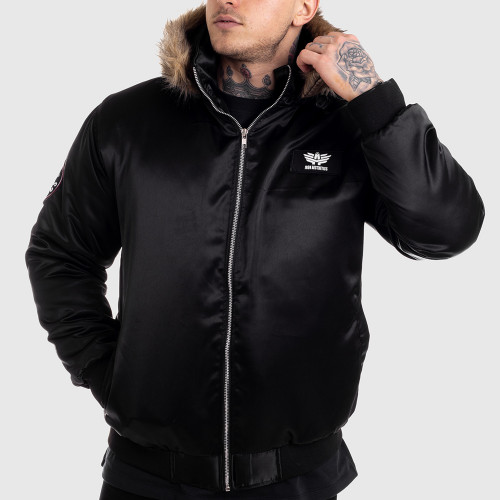 Pánska bunda s kožušinou Iron Aesthetics, čierna
