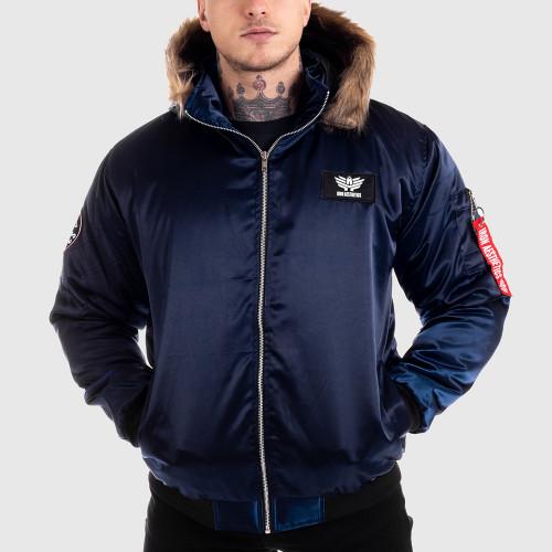 Pánska bunda s kožušinou Iron Aesthetics, modrá